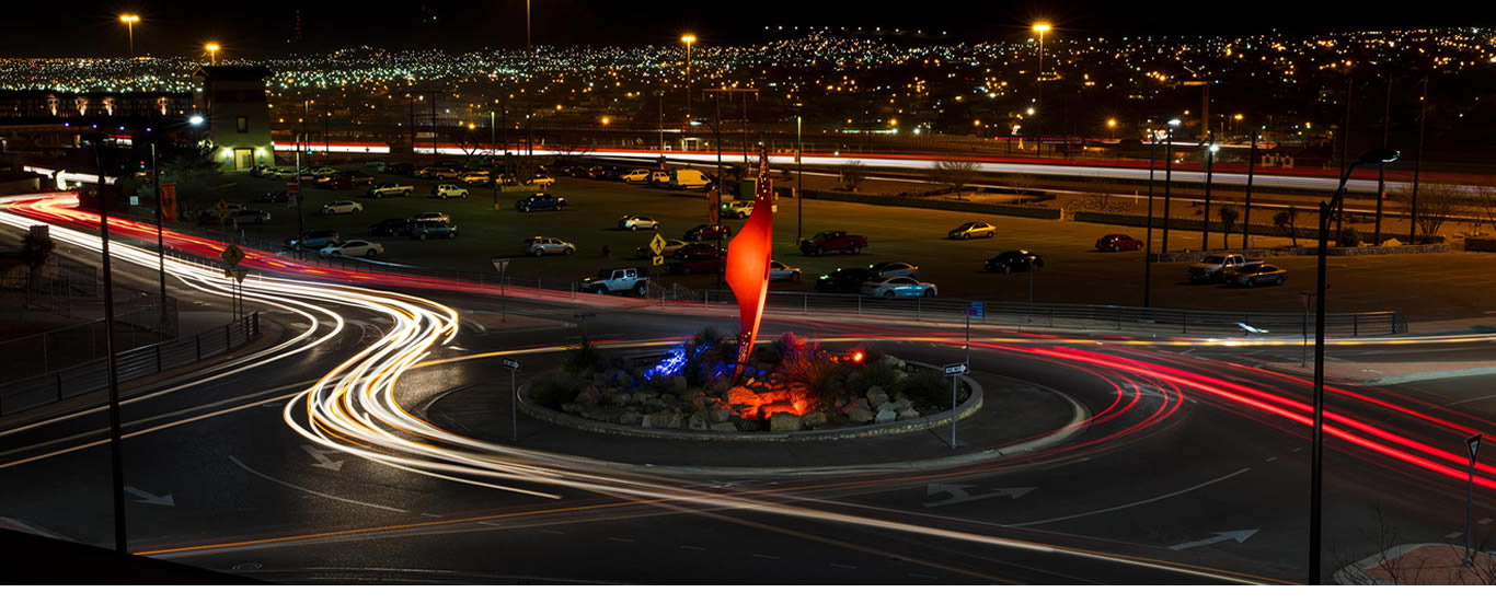 UTEP Pick Statue at night